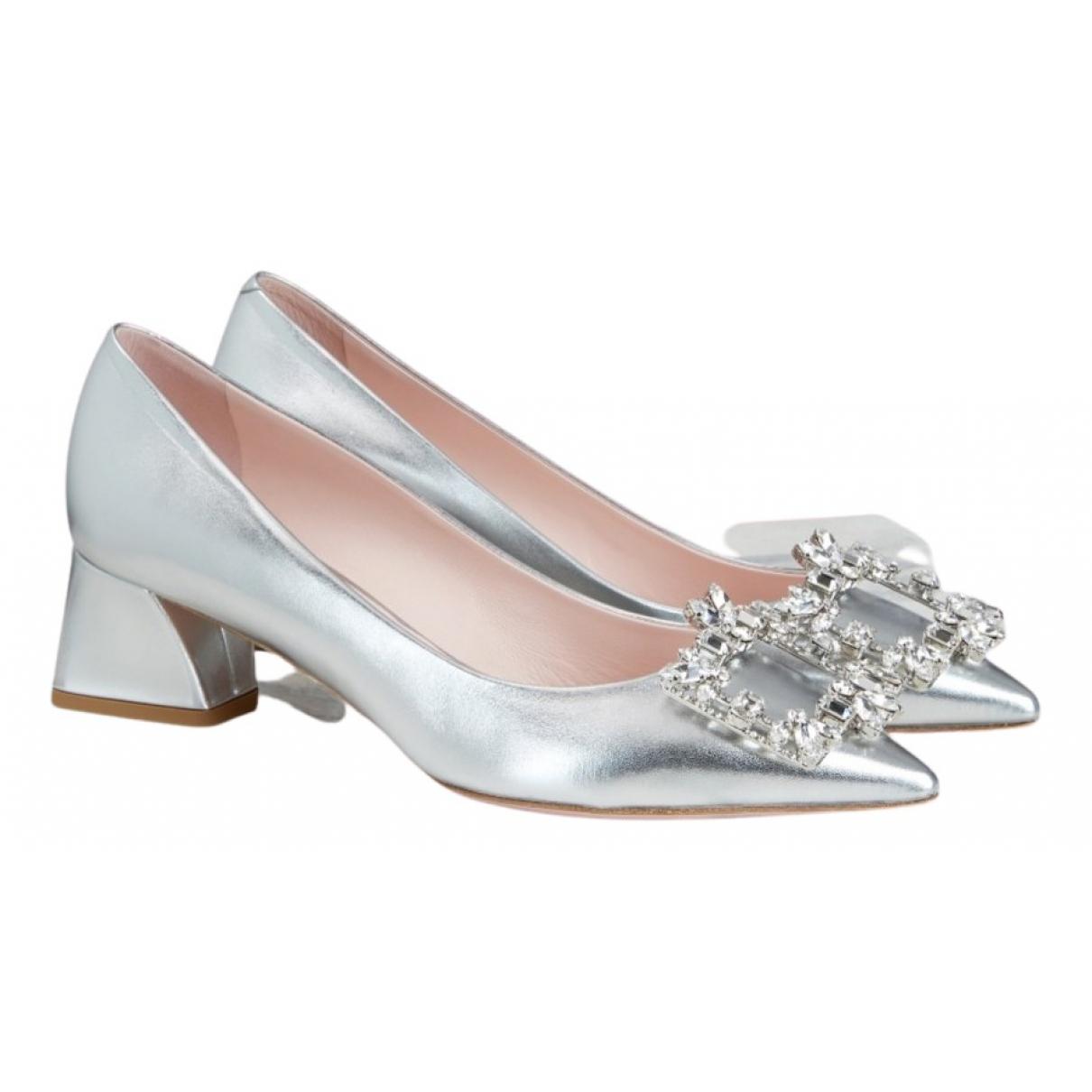 Roger Vivier Flower Strass Buckle Silver Leather Heels for Women 39.5 EU