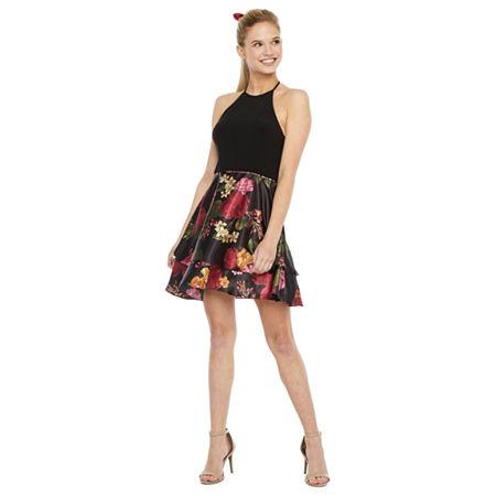 DJ Jaz-Juniors Sleeveless Floral Fit & Flare Dress, 5 , Black