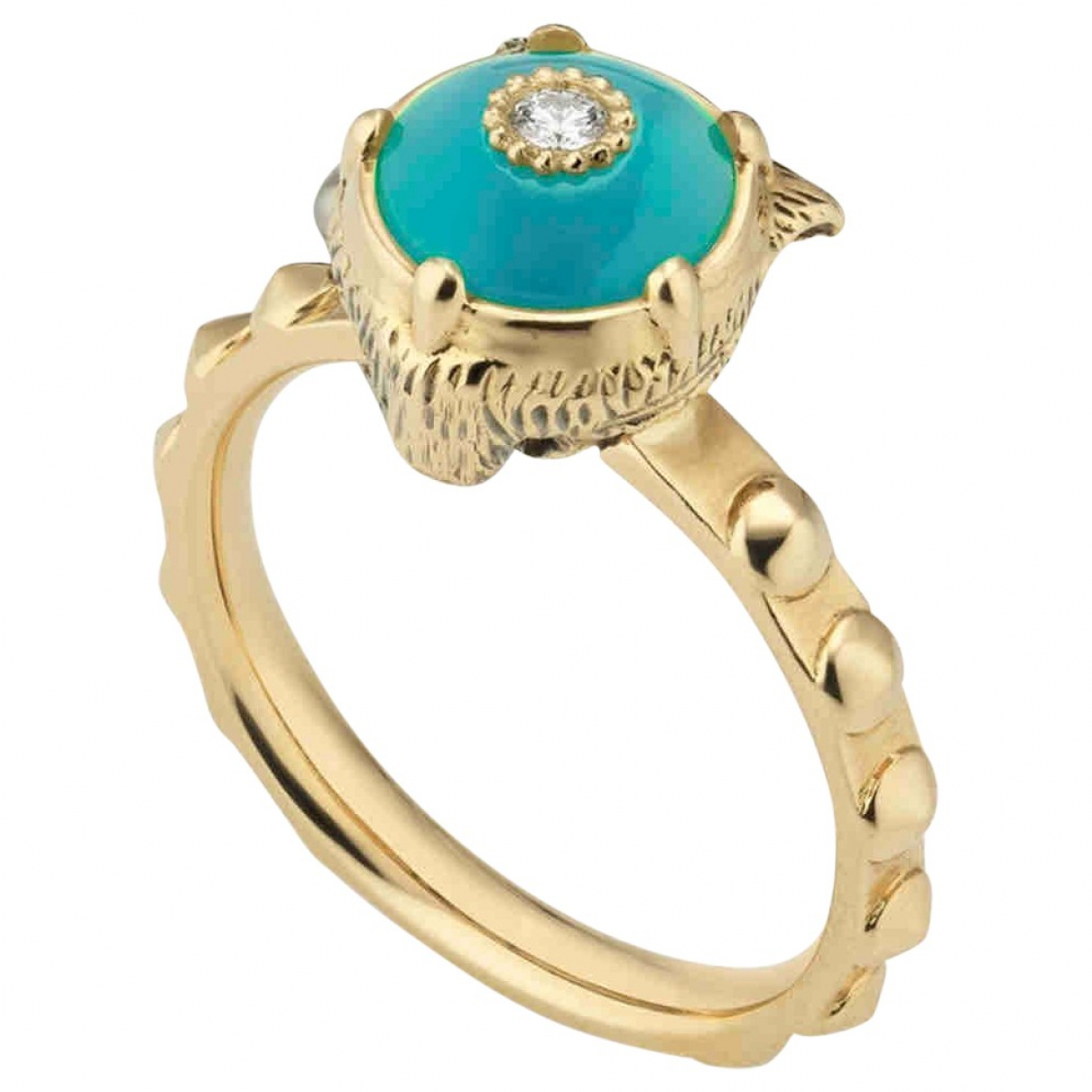 Gucci \N Blue Yellow gold ring for Women 53 EU