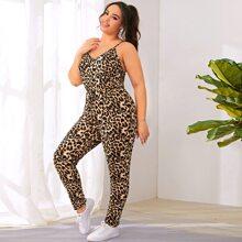 Grosse Grossen - Cami Jumpsuit mit Leopard Muster