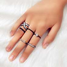 6pcs Rhinestone Hollow Out Ring