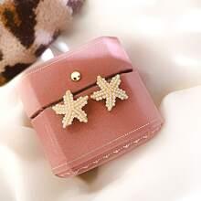 1pair Faux Pearl Beaded Starfish Shaped Earrings