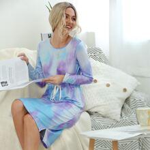 Tie Dye Drawstring Waist Split Hem Dress