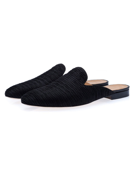 Milanoo Mens Black Mule Suede Loafers Shoes Slip On Slipper Shoes