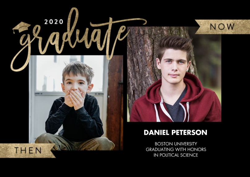 2020 Graduation Announcements 5x7 Cards, Standard Cardstock 85lb, Card & Stationery -2020 Grad Now & Then by Tumbalina