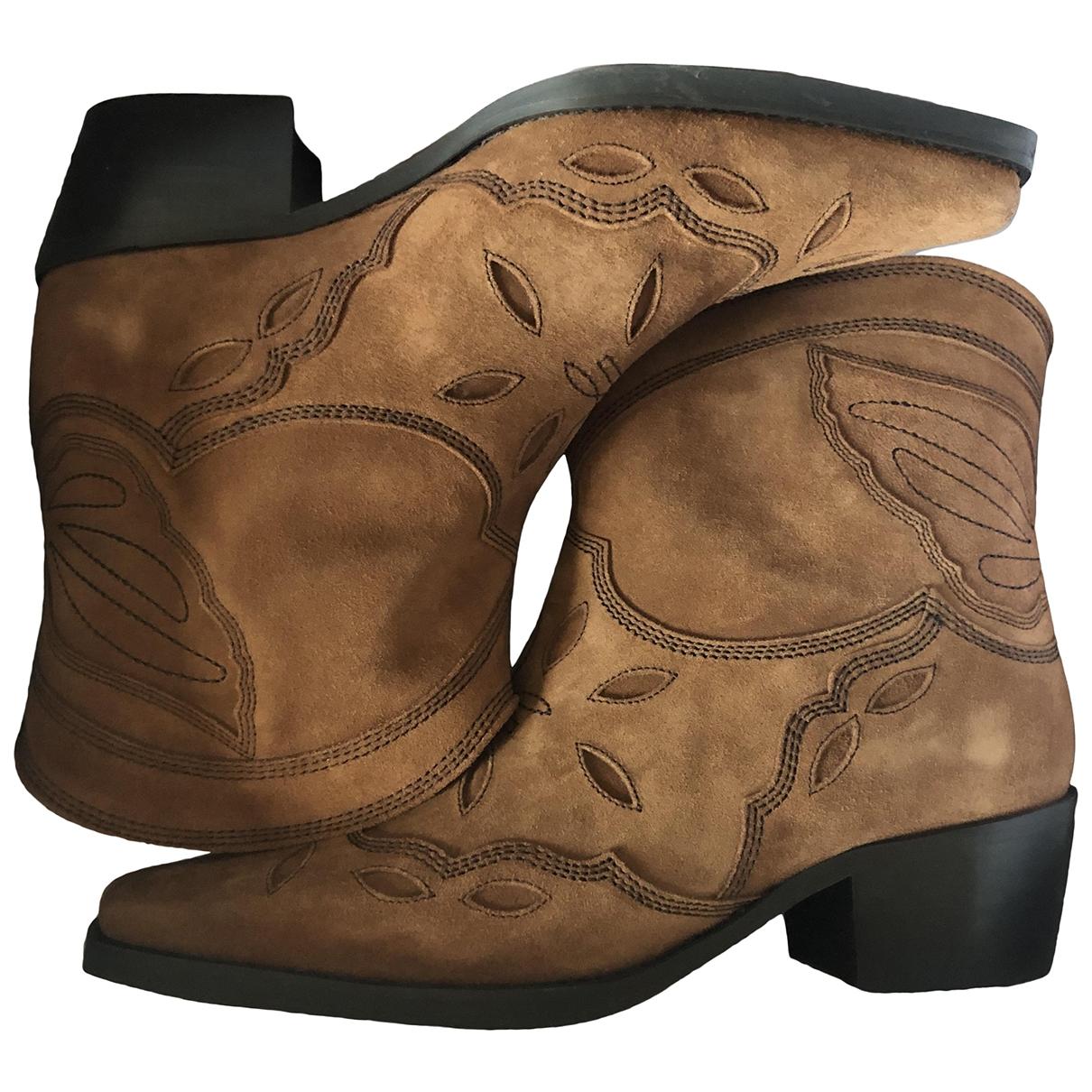 Ganni - Boots Fall Winter 2019 pour femme en cuir - marron