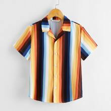 Boys Revere Collar Striped Shirt