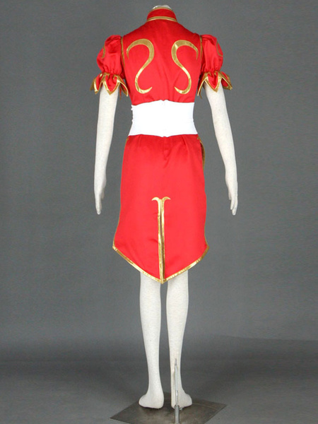Milanoo Red Chun-Li Faux Leather Street Fighter Cosplay Costume Halloween