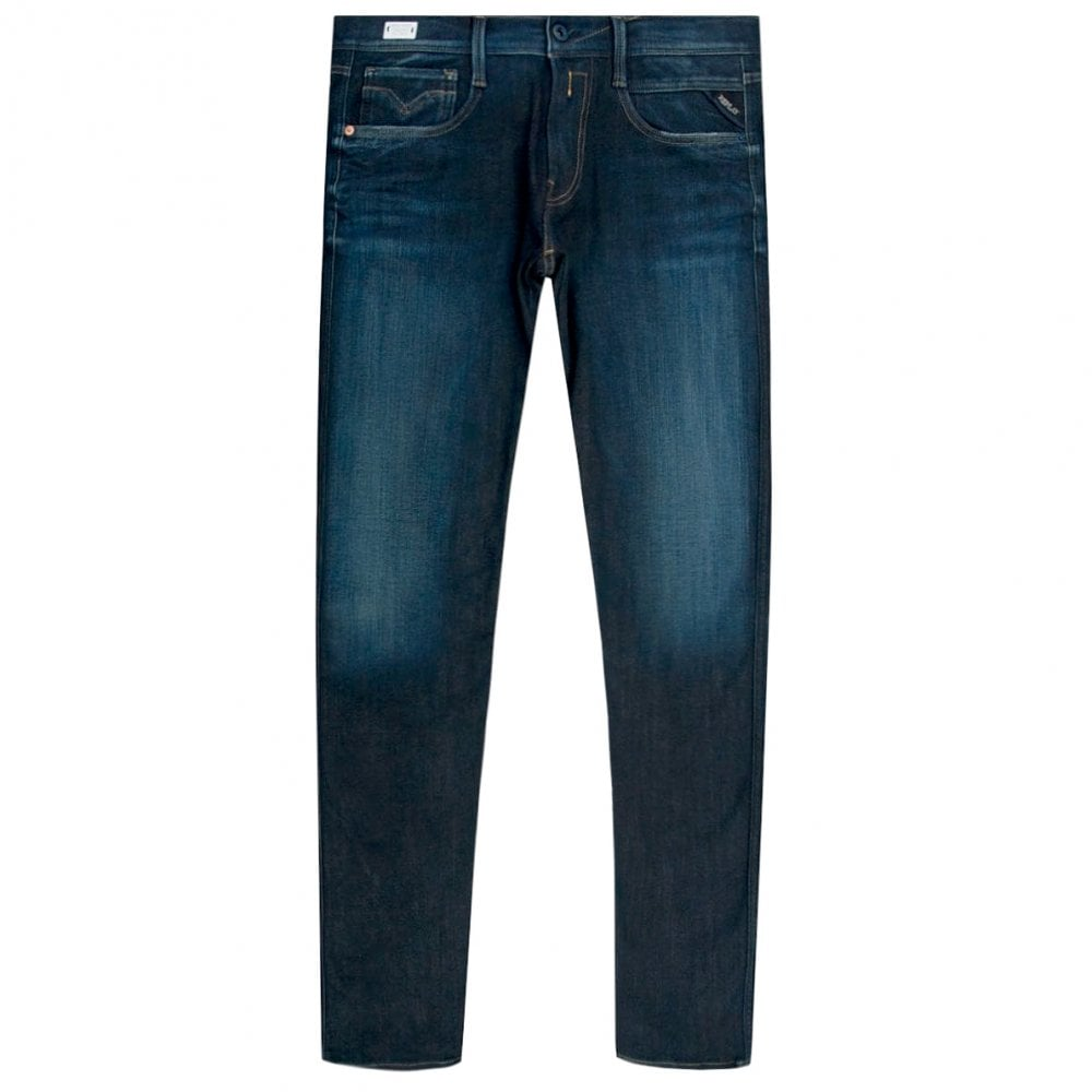 Replay Anbass Hyperflex+ Jeans Colour: NAVY, Size: 34 30