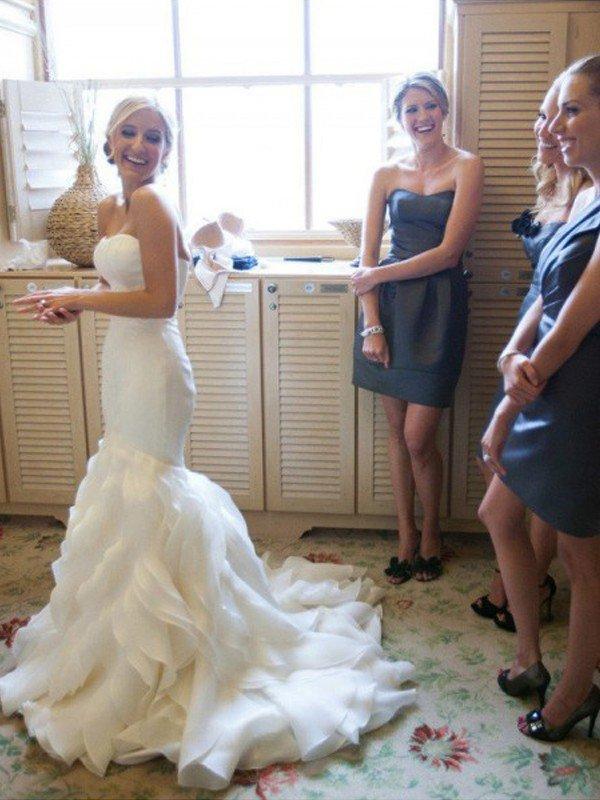Elegante Brautkleider Meerjungfrau Lang | Schone Abendmode Schulterfrei