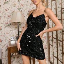 Zipper Back Sequin Slip Dress