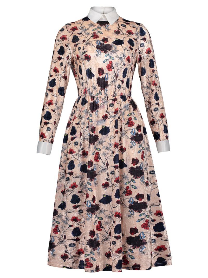 Ericdress Polo Neck Floral Print A-Line Dress