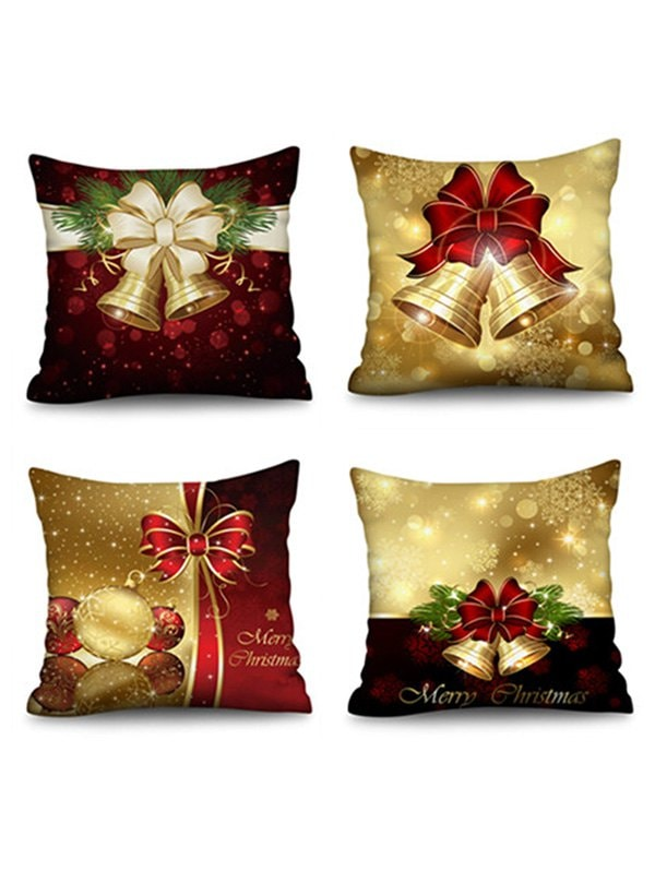 4 Pcs Christmas Bowknot Pattern Decorative Pillowcases