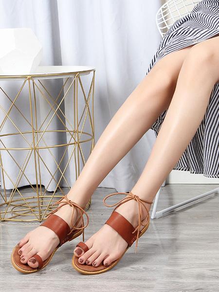 Milanoo Black Toe Ring Flat Sandals Comfy Starp Beach Sandal Shoes for Women