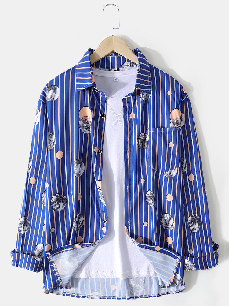 Mens Vertical Stripe Graphic Print Lapel Casual Long Sleeve Shirts With Pocket