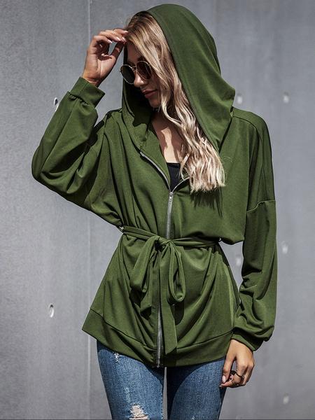 Milanoo Chaqueta de mujer con capucha y cordones de poliester, mangas largas, chaqueta de mujer