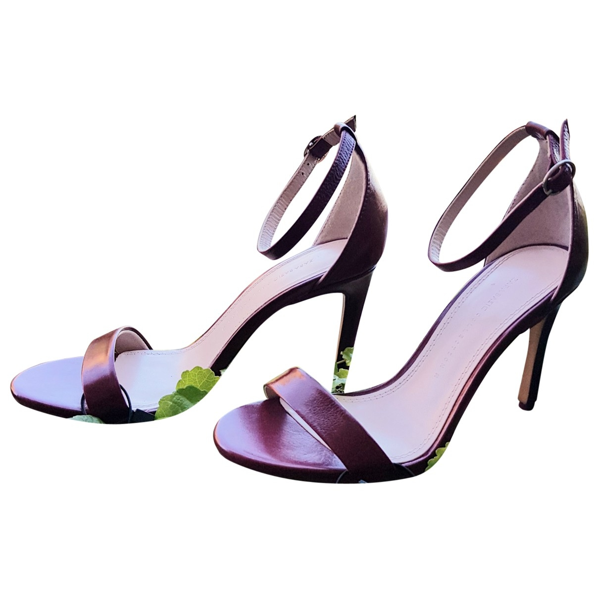 Zara - Sandales   pour femme en fourrure - bordeaux