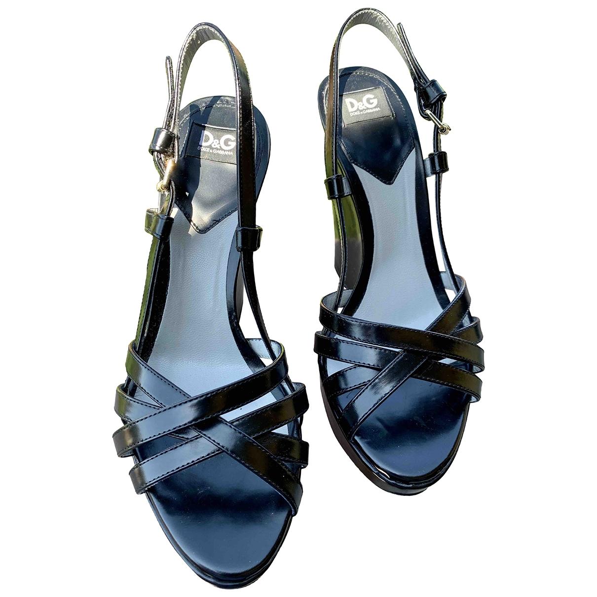 D&g - Sandales   pour femme en cuir - noir
