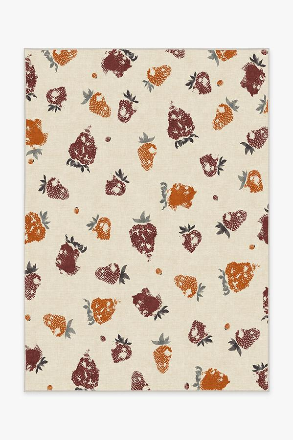 Washable Rug Cover & Pad | Strawberries Orange Rug | Stain-Resistant | Ruggable | 5'x7'