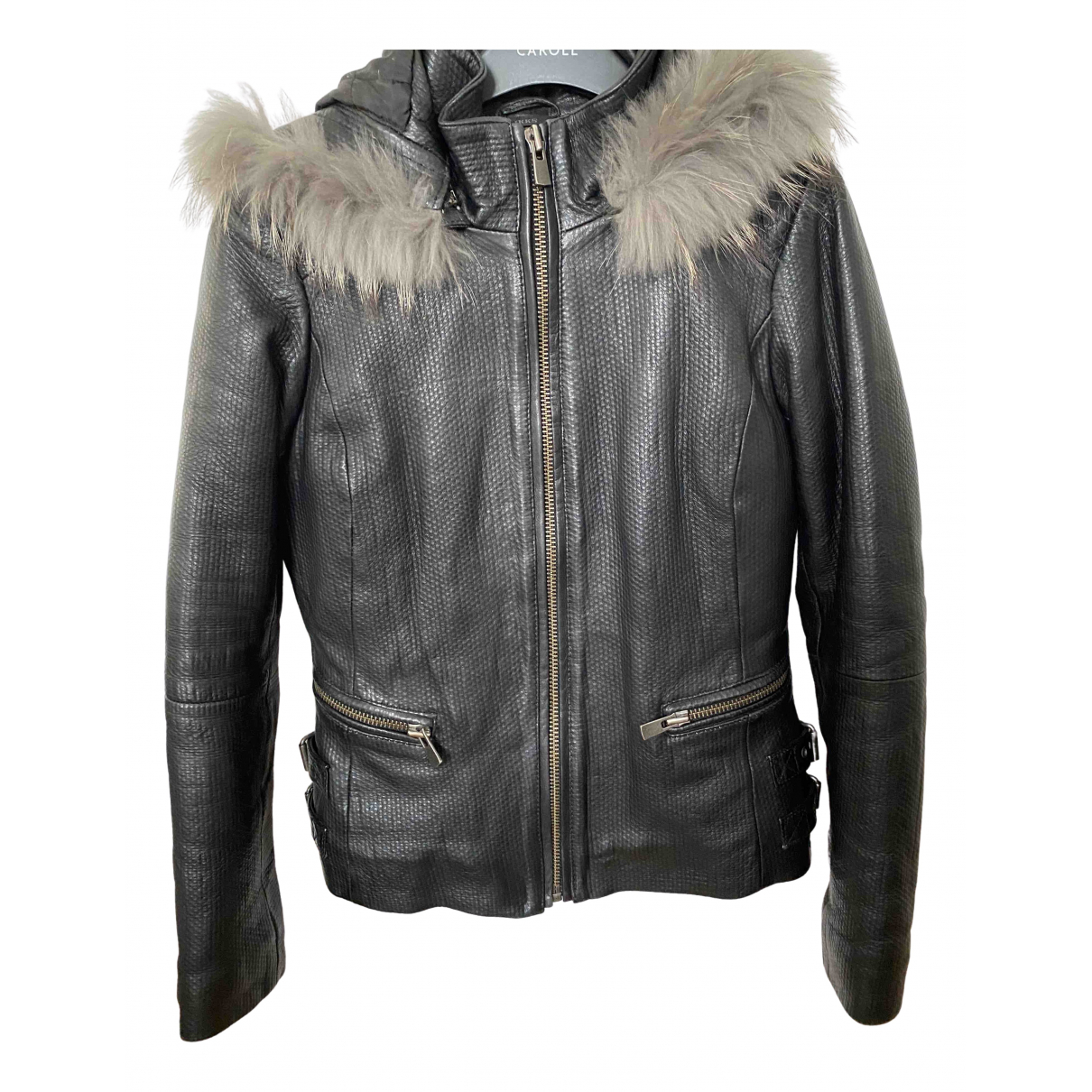 Ikks N Black Leather Leather jacket for Women 36 FR