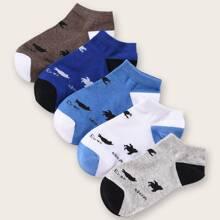 5pairs Men Letter Graphic Socks