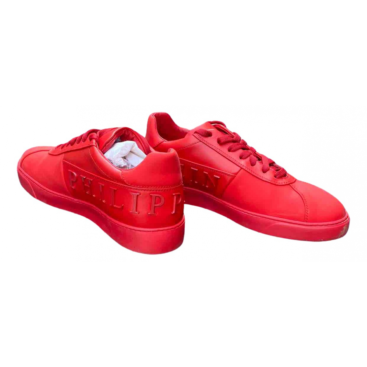 Philipp Plein N Red Leather Trainers for Men 40 EU
