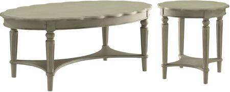 Fordon Collection 82920SET 2 PC Living Room Table Set with Coffee Table + End Table in Antique White
