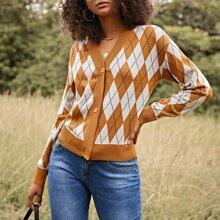Drop Shoulder Argyle Pattern Cardigan