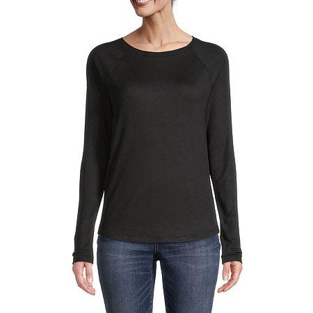 St. John's Bay-Womens Round Neck Long Sleeve T-Shirt, Petite Small , Black