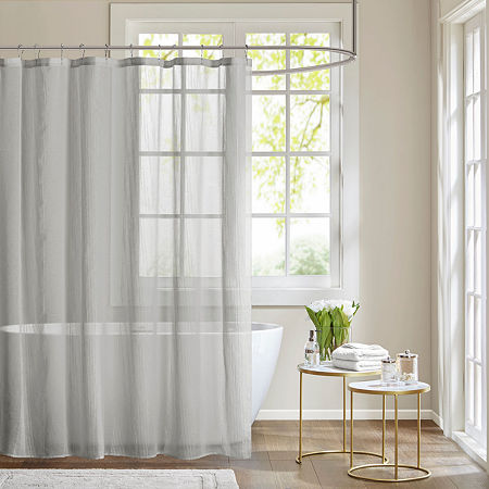Madison Park Lydia Sheer Shower Curtain, One Size , Gray
