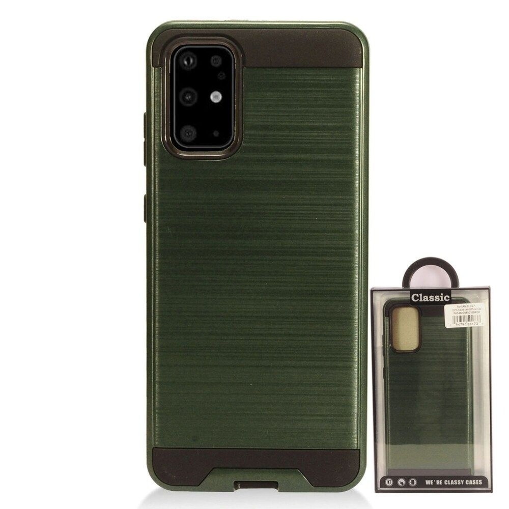 Insten Hard Dual Layer Brushed TPU Case For Samsung Galaxy S20 Plus - Green/Black (Green)