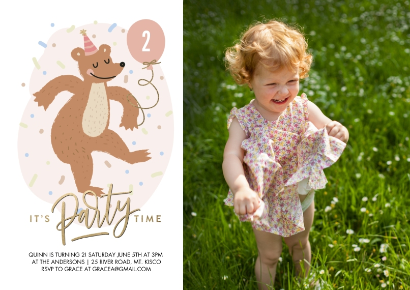 Kids Birthday Party 5x7 Cards, Premium Cardstock 120lb, Card & Stationery -Birthday Party Dancing Bear by Tumbalina