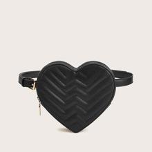 Chevron Stitch Detail Heart Shaped Fanny Pack