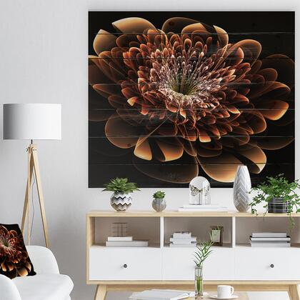 WD8851-40-30 Brown Fractal Flower - Modern Floral Print On Natural Pine Wood -