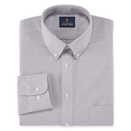 Stafford Mens Wrinkle Free Oxford Button Down Collar Fitted Dress Shirt, 16.5 36-37, Gray