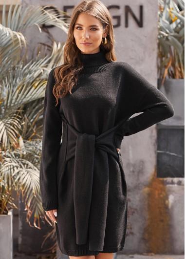 Black Dresses Long Sleeve Tie Waist Turtleneck Sweater Dress - M