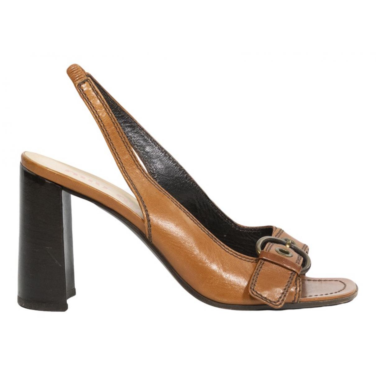 Miu Miu \N Brown Leather Sandals for Women 40 IT