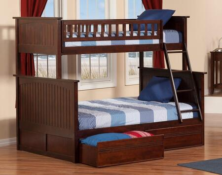AB59214 68.125 Nantucket Bunk Bed Twin Over Full With Flat Panel Bed Drawers In Antique