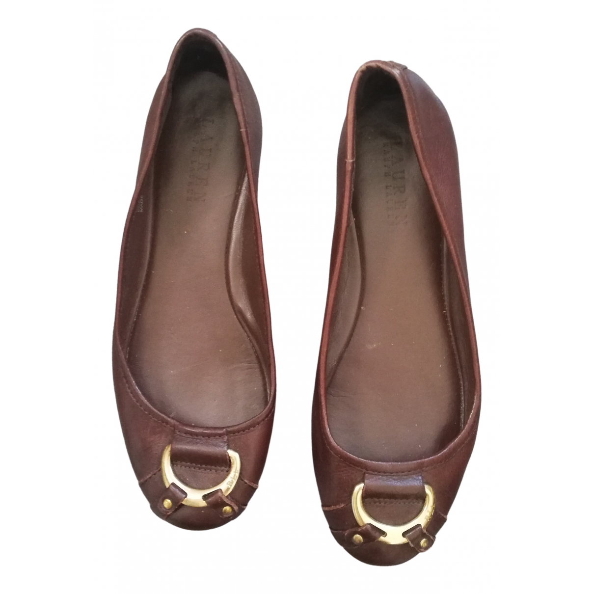 Lauren Ralph Lauren \N Brown Leather Ballet flats for Women 38 EU