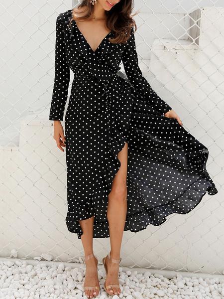 Milanoo Chiffon Maxi Dress Polka Dot Long Sleeves Split Floor Length Dress