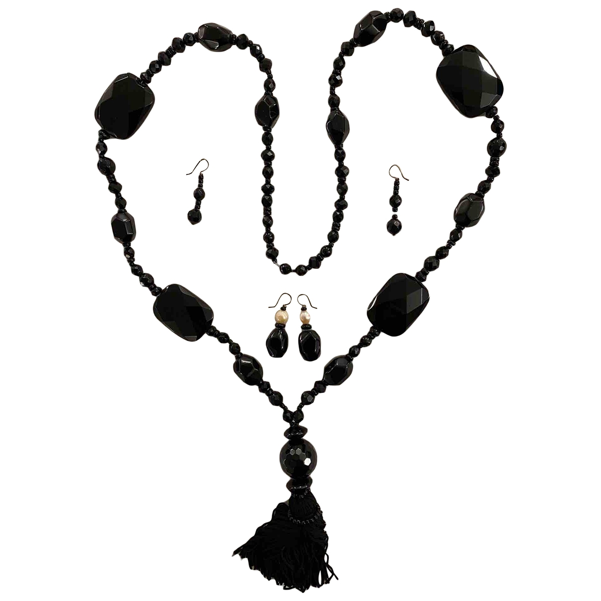 Non Signé / Unsigned \N Black Glass Jewellery set for Women \N