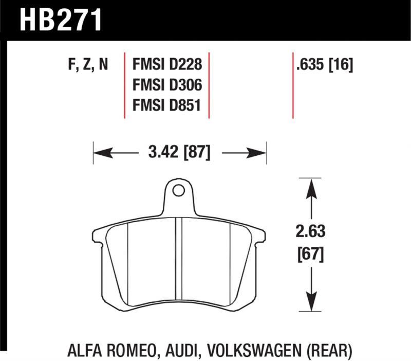 Hawk Performance HB271N.635 Disc Brake Pad Audi Rear