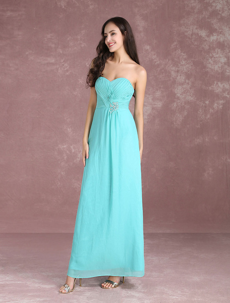 Milanoo Long Bridesmaid Dresses Chiffon Strapless Turquoise Prom Dresses 2020 Sweetheart Floor Length Party Dress