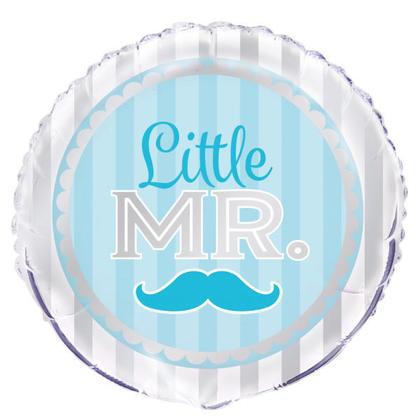 Fête de douche de bébé garçon bleu moustache petit garçon rond de papier d'aluminium ballon 18