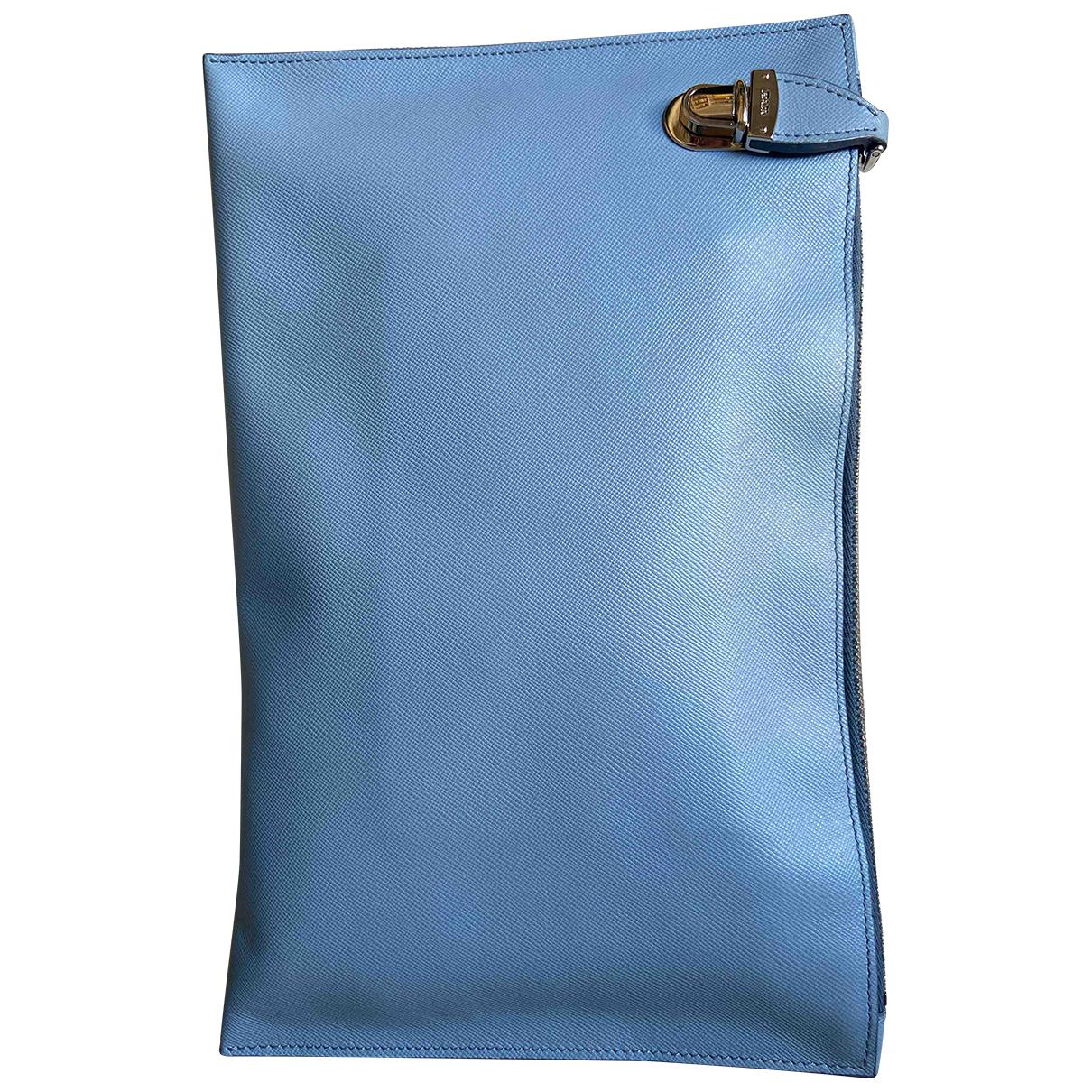 Prada - Pochette   pour femme en cuir - turquoise
