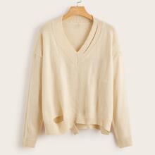 Plus Cutout Detail Drop Shoulder Asymmetrical Hem Sweater