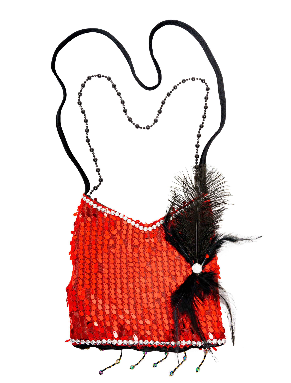 Kostuemzubehor Tasche rot mit Federn schwarz