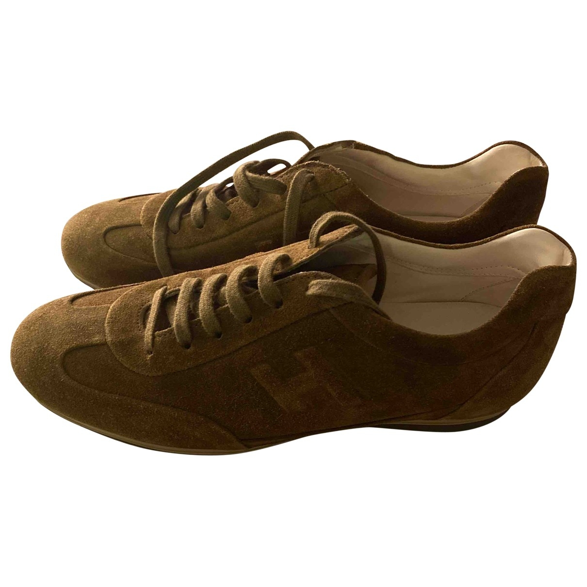 Hogan - Baskets   pour homme en suede - marron