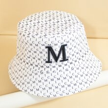 Letter Embroidered Reversible Bucket Hat