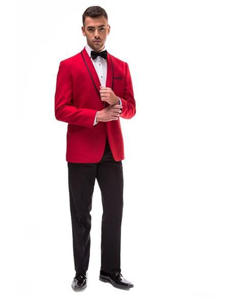 Red Trim Lapel Shawl Tuxedo Suit Jacket & Pants Blazer Sport Coat